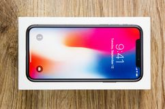 December 2017. New Iphone 10 in the box. A popular smartphone from the company Apple in the box Stock Image