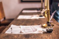December 03, 2016: Old ink and paper inside Kronborg castle, Den Royalty Free Stock Photography