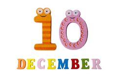 10 december, op een witte achtergrond, getallen en letters Stock Afbeeldingen