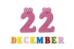22 december op witte achtergrond, getallen en letters Stock Foto