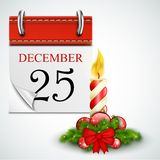 25 December Opened Calendar With Candle Stock Photos