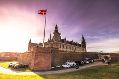 03 december, 2016: Panorama van het kasteel van Kronborg-verstand Royalty-vrije Stock Foto