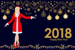 December partitid Glad jul och kort för lyckligt nytt år stock illustrationer