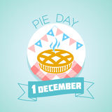 1 december Pie Day. Calendar for each day on december 1. Greeting card. Holiday - Pie Day. Icon in the linear style stock illustration