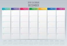 December 2018 planner calendar vector illustration Stock Photography