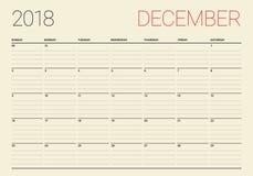 December 2018 planner calendar vector illustration Royalty Free Stock Images