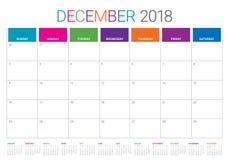 December 2018 planner calendar vector illustration Royalty Free Stock Photos