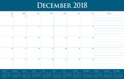 December 2018 planner calendar vector illustration vector illustration