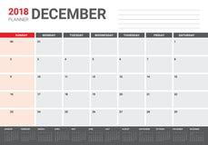 December 2018 planner calendar vector illustration Stock Photos