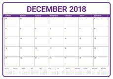 December 2018 planner calendar vector illustration Stock Photo