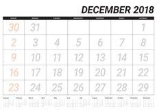 December 2018 planner calendar vector illustration Stock Image