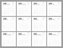 2018 DECEMBER Planner Design. 2018  Calendar Planner Design of illustrator Stock Photos