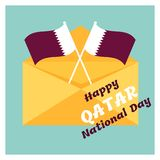18 December. Qatar National Day card. In national flag color theme Royalty Free Stock Images