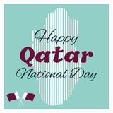 18 December. Qatar National Day card. In national flag color theme Royalty Free Stock Photo