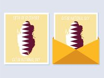 18 December. Qatar National Day card. In national flag color theme Stock Photography