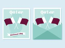 18 December. Qatar National Day card. In national flag color theme Stock Image