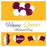 18 December. Qatar National Day card. In national flag color theme Stock Images