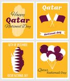 18 December. Qatar National Day card. In national flag color theme royalty free illustration