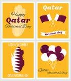 18 December Qatariskt kort för nationell dag royaltyfri illustrationer