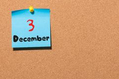 December 3rd Dag 3 av månaden, kalender på anslagstavla vinter för blommasnowtid Tomt avstånd för text Royaltyfria Foton