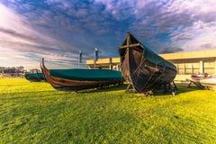 04 december, 2016: Replica's van Viking-barkassen in Viking Sh Royalty-vrije Stock Foto's
