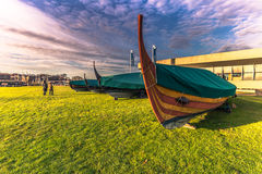 December 04, 2016: Replicas of Viking longboats in the Vikin Royalty Free Stock Images
