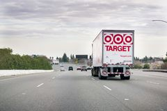 December 31, 2017 Sacramento / CA / USA - Target delivery truck driving on the freeway royalty free stock image