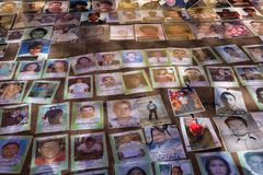 Photos of disappeared refugees in Mexico. December 3, 2014 San Cristobal de las Casas, Mexico: photos of Central American refugees who disappeared while crossing Stock Photos