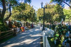 December 6, 2017 San Jose / CA / USA - Alley in Christmas in the park downtown display in Plaza de Cesar Chavez, Silicon Valle. Y, south San Francisco bay area royalty free stock photos