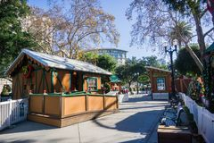 December 6, 2017 San Jose / CA / USA - Alley and exhibits at 'Christmas in the park ' event in Plaza de Cesar Chavez, Silicon royalty free stock photography