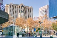 Pedestrian area in downtown San Jose royalty free stock photo