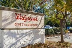 December 6, 2017 San Jose / CA / USA - Walgreens drive thru pharmacy sign royalty free stock images