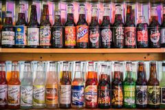 December 24, 2017 San Luis Obispo / CA / USA - Various flavors of soda drinks in a store in downtown San Luis Obispo stock images
