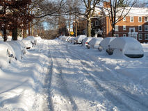 December Snow on 39th Street Royalty Free Stock Image