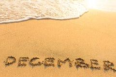 December - som dras av handen på en sandig havsstrand Royaltyfri Fotografi