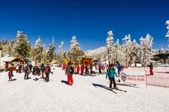 December 26, 2018 South Lake Tahoe / CA / USA - People enjoying a beautiful day at the Heavenly Sky Tamarack Lodge stock images