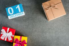 December 1st bild 1 dag av den december månaden, kalender på jul och bakgrund för nytt år med tomt utrymme för text Royaltyfri Fotografi