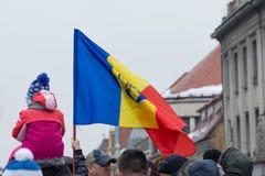 December 1st 2017 Brasov Rumänien, festligheter för nationell ferie in i rådfyrkant Arkivfoto