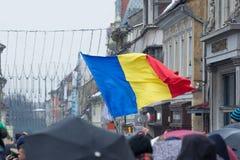 December 1st 2017 Brasov Rumänien, festligheter för nationell ferie in i rådfyrkant Arkivbild