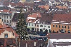 December 1st 2017 Brasov Rumänien, festligheter för nationell ferie in i rådfyrkant Royaltyfri Fotografi