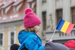 December 1st 2017 Brasov Rumänien, festligheter för nationell ferie in i rådfyrkant Royaltyfri Foto