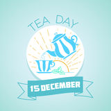15 December Tea Day. Calendar for each day on December 15. Greeting card. Holiday - Tea Day. Icon in the linear style royalty free illustration