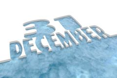 31 december text cutout in ice. 31 december text. Cutout text on white background. Blue sea waters. 3D rendering Stock Photography