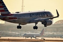 American Airlines Airbus A319 coming in for a landing stock photo