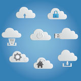 Cloud storage icons ,latest technology cloud computing , vector icons Royalty Free Stock Photos