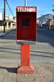 Old technology empty telephone booth San Felipe, Baja, Mexico. December 25th 2017, Christmas Day deserted street with abandoned telephone booth with pay phone Royalty Free Stock Photography