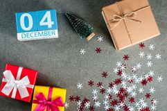 December 4th Dag för bild 4 av den december månaden, kalender på jul och bakgrund för nytt år med gåvor Royaltyfria Foton