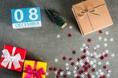 December 8th Dag för bild 8 av den december månaden, kalender på jul och bakgrund för nytt år med gåvor Royaltyfri Bild