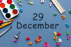 December 29th. Day 29 of december month. Calendar on businessman or schoolchild workplace background. Winter time.  Royalty Free Stock Photos