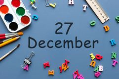 December 27th. Day 27 of december month. Calendar on businessman or schoolchild workplace background. Winter time Stock Photography
